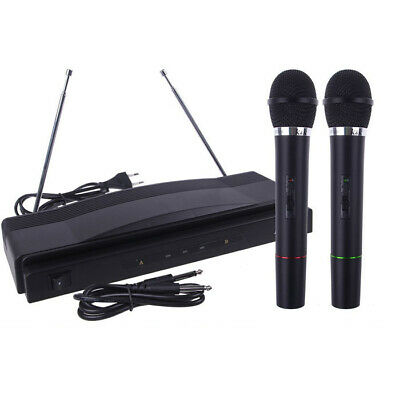 Wireless Microphone System Dual Handheld + 2 x Mic Cordless Receiver