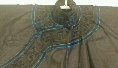 Antique Chinese Silk Robe Black Blue Brocade Longevity Swastika Wan Symbol Qing