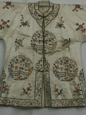 Antique Chinese Silk Robe Jacket Qing Embroidery Forbidden Stitch Gold Threads