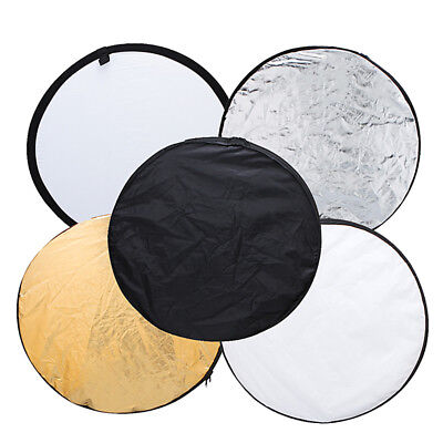 "60cm 24"" 5-in 1 Studio Light Multi Collapsible Photo Reflector Board Panels Disc"