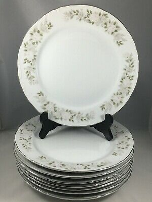 """8 Sheffield Fine China 501 Classic 9 1/4"""" Luncheon Plates Flower Roses Japan"""