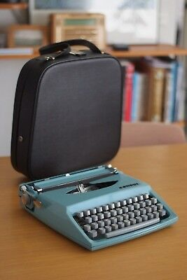 Vintage Retro Consul Portable Typewriter in blue, Made in Czechoslovakia, Case