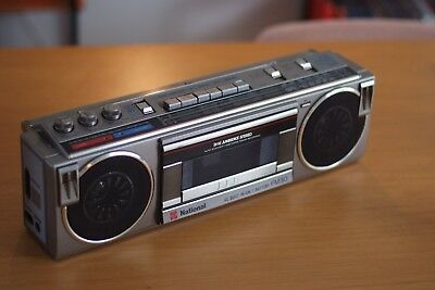 National SIlver Boombox GhettoBlaster, Made in Japan, Retro, Vintage, Works Rare