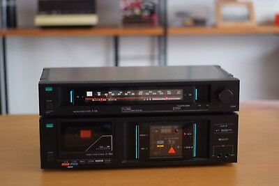 Retro SANSUI T-510 AM FM Stereo Tuner and D-59M Cassette Player, Made in Japan