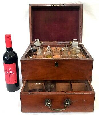 Antique Mahogany Apothecary Box with fitted With Contents By Lynch & Co London