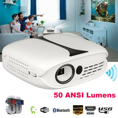 50ANSI Lumens 1080P Full HD Mini LED Projector 3D Home Theater Cinema HDMI USB A