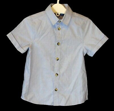 Baby Boys Primark Plain Blue Short Sleeve Smart Casual Shirt Age 18-24 Months