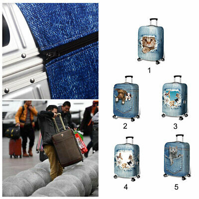 3D Cat Dog Printed Suitcase Protector Elastic Luggage Trolley Case Protect Cover
