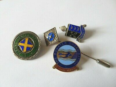 Collection of 4 Hallmarked Silver & Enamel Badges & Stick Pin