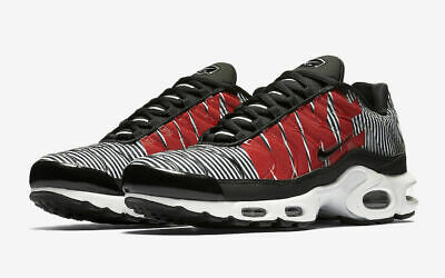 87bdd71eab4447 Nike Air Max Plus TN SE Running Shoes Black White Red AT0040-001 Men s NEW