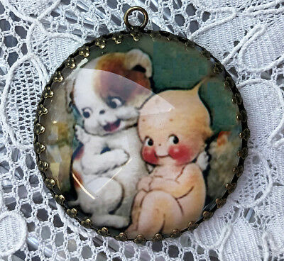 KEWPIE AND PUPPY ~ XL ROUND 35mm PENDANT Filigree ~ VINTAGE ROSE O'NEILL ART