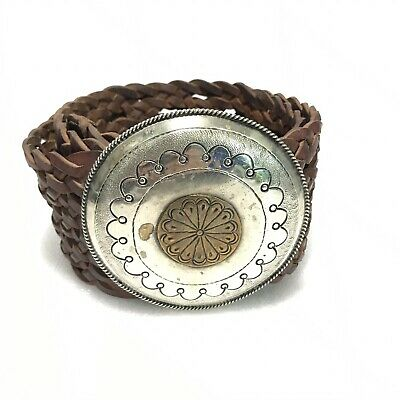 Four Winds West Morocco Leather Silver Conche Braided Womens Belt Vintage 38