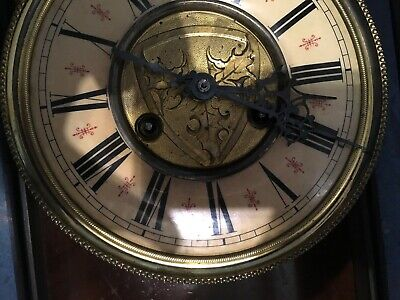 Victorian Circa Antique Vienna Wall Clock With Ornate Carved Finial Pediment Top