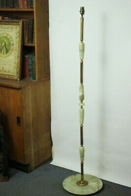 Vintage Green Onyx and Gilded Brass Standard Lamp - FREE Shipping [PL4976]