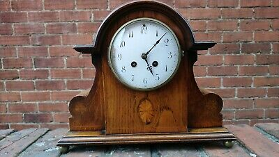 Edwardian Inlaid Oak Case 8 Day Striking Mantel Clock, French Movement