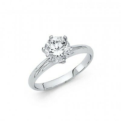 1 Carat 14k Real White Gold Round cut Solitaire Engagement Wedding Ring size 4-9