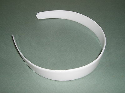 "DIY BULK Lot 24 White Plastic HEADBANDS 1"" WIDE Tapered NO Teeth  Free US Ship"