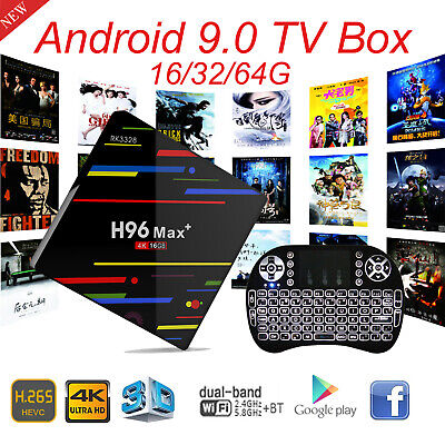 2019 Android 9.0 H96 Max+ 16/32/64G Smart TV Box Quad Core WIFI 4K With Keyboard
