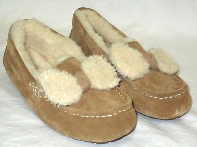 a91e062ab11 NEW NWOB WOMENS 6 Chestnut Ugg Ansley Fur Bow Sheepskin Suede Moccasins  Slippers