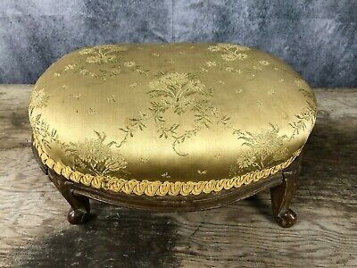 Small Victorian Footstool, upholstered on Gold . Mahogany base