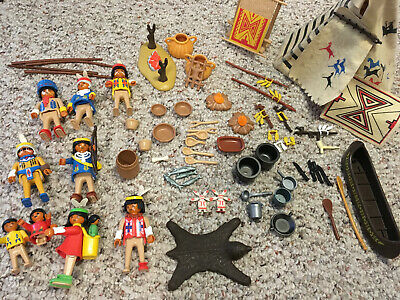 RARE Lot of 197+ 80s/90s Playmobil - Teepee, Civil War, Gold Miners, Medieval