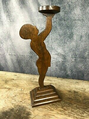 Vintage oak card holder stand in the shape of a boy, 1940's