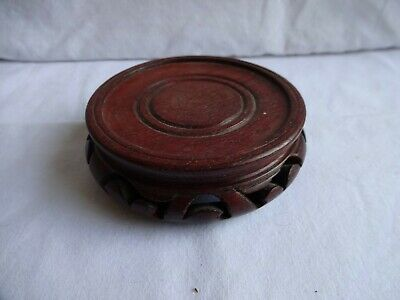 Vintage Chinese Carved And Pierced Wooden Stand Diameter 10 cm for 8 cm pot