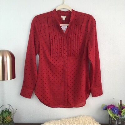 023511ebcbe4c NWT J.Crew Factory Drapey Tuxedo Top Red Polka Dot Button Down Career Office