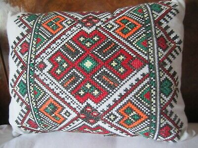 Vintage Hand Embroidered In Cross Stitch Cushion