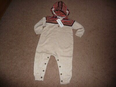 3e3eb3b363b NWT Gymboree Baby Boys Hooded One Piece Sweater Romper Jumpsuit 3-6 months