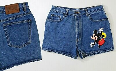 80s Vintage Mickey Mouse High Waist Denim Shorts Mickey Inc Womens Size L