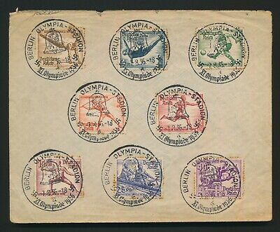 1936 Germany Cover Olympics #b82/89 To Yorkshire, Full Set, Good Cancels