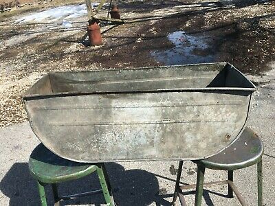 Vintage Extra Large Double  Galvanized Oval Wash Tub  31.5 x 10 x 12 Planter