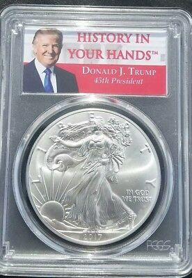 2017 $1Donald J. Trump Silver Eagle First Strike Pcgs Ms69 Collector's Item!