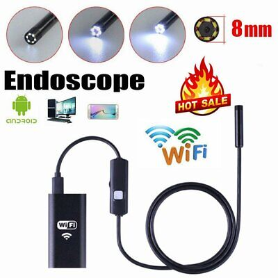 WIFI Endoscope 2MP 8mm  Borescope Inspection Camera iPhone Android PC 1/2/3. A☯%