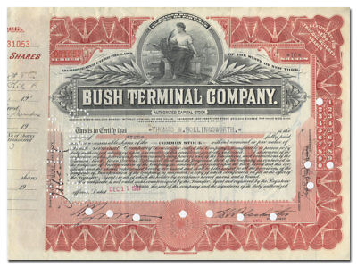 Bush Terminal Company Stock Certificate (Brooklyn Barge)