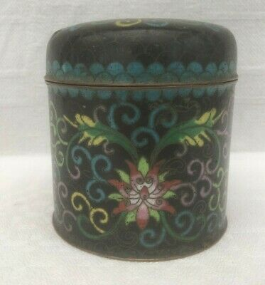 Vintage Small Chinese Cloisonne TEA JAR & LID - Lotus Flowers & Scrolls H8 cm