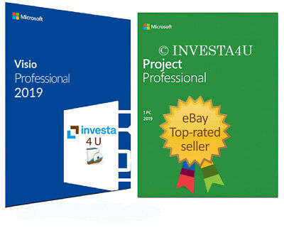 Visio & Project PRO Professional 2019 Pack - W/scrap, Genuine, Lifetime Key 100%
