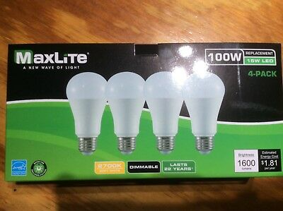 96 bulbs Maxlite LED 100 Watt Equivalent A type Light Bulb - Dimmable 2700k!!!
