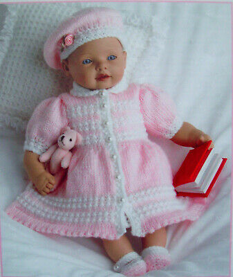 Jacquay Yaxley Dolls clothes Dress KNITTING PATTERN DK 8 - 12inch Premature baby