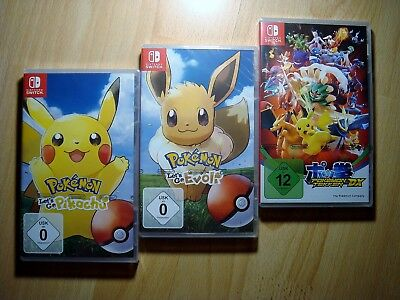3 x Nintendo Switch Spiele Pokemon Lets Go Pikachu + Evoli + Pokemon Tekken DX