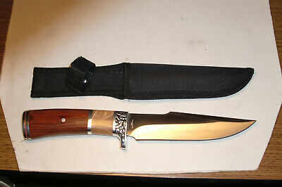 Heavy Duty Hunting Knife With Nylon Sheath & Two-Tone Inlaid Handle.
