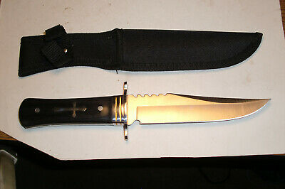 Heavy Duty Hunting Knife With Nylon Sheath & Celtic Cross Inlaid Handle.
