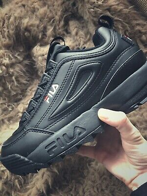 2d12f43258f8 Womens Fila Disruptor II UK 4 Trainers Black Mono Trainers Shoes sneakers