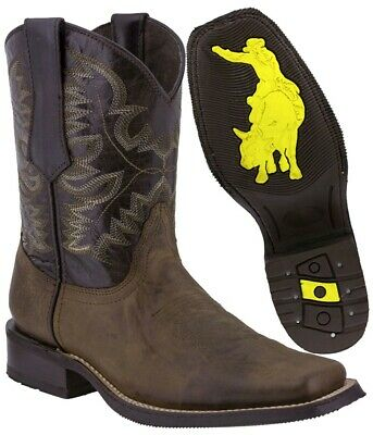 Mens Dark Brown Work Saddle Style Western Cowboy Boots Square Toe Real Leather