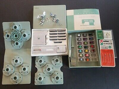 Sears Kenmore Sewing Machine Buttonholer & Other Accessories Model 1751 W/Case