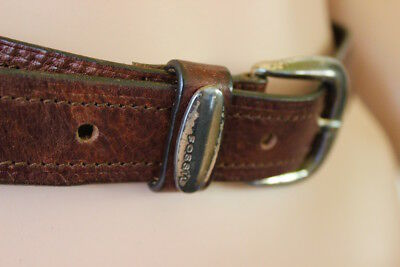 Fossil leather belt genuine designer unisex tan brown size small classic jeans