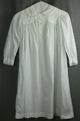 Antique Girls Night Gown Long White Cotton Lace Trim Rare Beautiful Condition