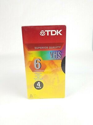 TDK Superior Quality VHS T-120 Standard Grade 6 Hours EP 4 Pack Brand New Sealed