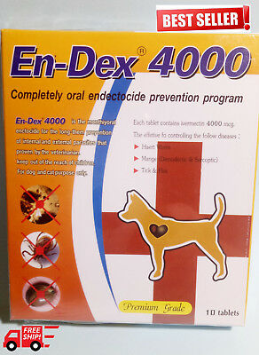 10 tablet for Dog Cat prevent Wormer flea Mange tick as heart gard en dex New